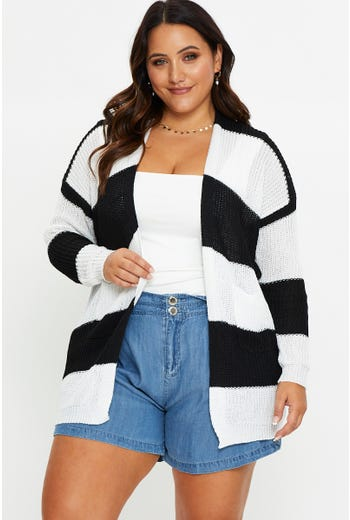 Plus Stripe Pocket Front Cardigan