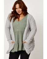 Plus Cable Knit Open Front Cardigan