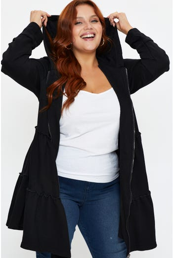 Plus Tiered Hooded Cardigan