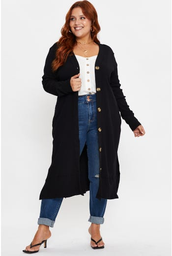 Plus Long Sleeve Rib Longline Cardigan