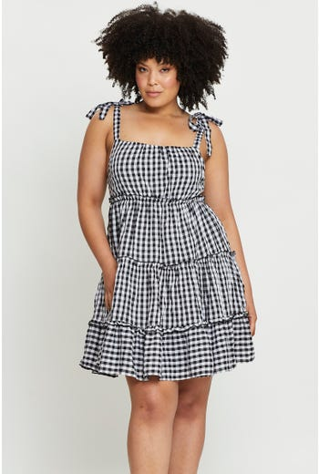 Plus Check Tiered Dress