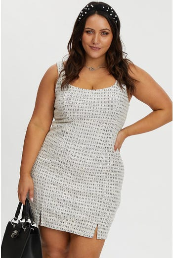 PLUS BOUCLE SCOOP NECK DRESS