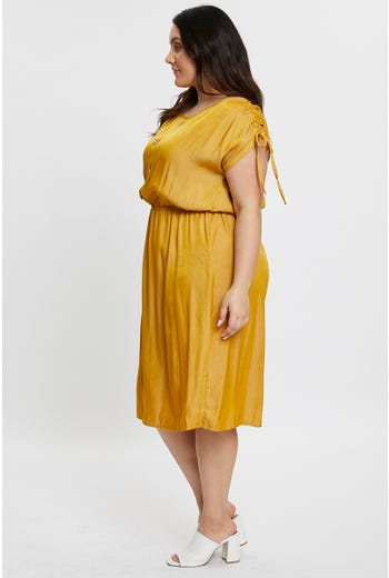 Tie Shoulder Button Front Midi Dress