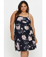 Plus Sleeveless Floral Print Tiered Dress