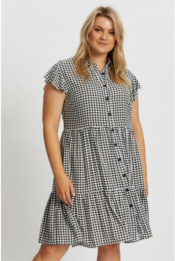 Plus Tiered Shirt Dress