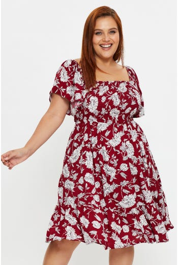 Plus Angel Sleeve Floral Shirred Dress