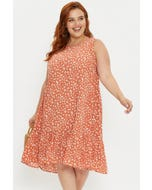 Plus Sleeveless Floral Tiered Smock Dress