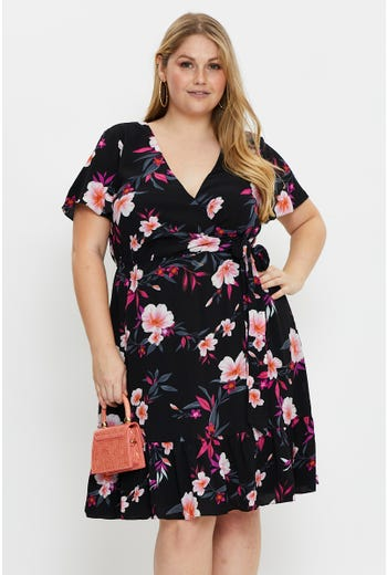 Plus Short Sleeve Floral Print Wrap Front Dress