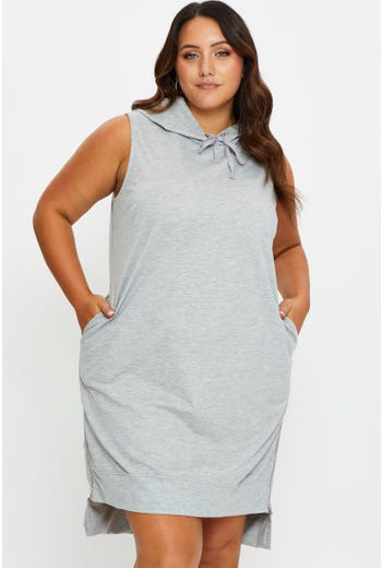 Plus Sleeveless Hoodie Jersey Dress