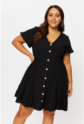 Plus Short Sleeve Button Front Smock Dress