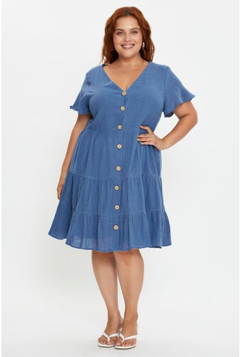Plus Short Sleeve Linen Look Tiered Dress