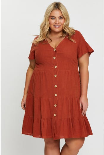 Short Sleeve Linen Look Button Front Tiered Smock