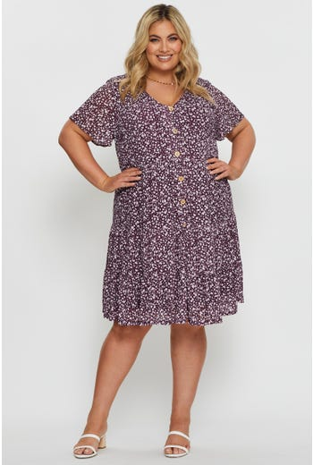 Short Sleeve Floral Tiered Jersey Smock Dress