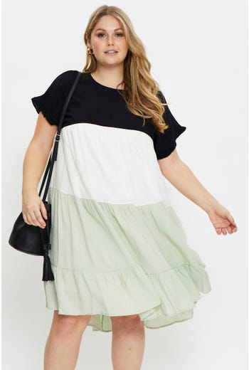Plus Short Sleeve Colour Block Smock Dress