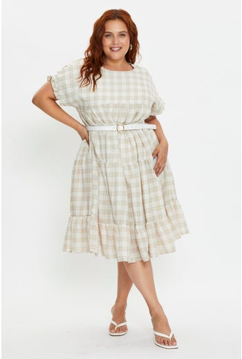 Plus Short Sleeve Check Smock Dress