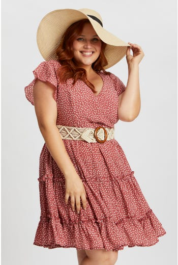 Plus Short Sleeve Dot Frill Sleeve Skater Dress