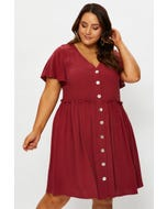 Plus Short Sleeve Button Front Tiered Smock Dress