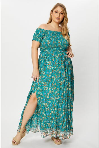Plus Short Sleeve Boho Print Shirred Maxi Dress