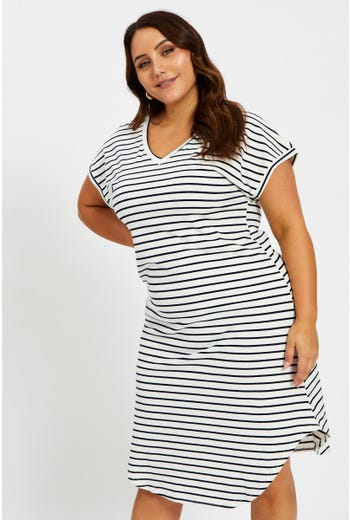 Plus Short Sleeve Stripe T Shirt Dress
