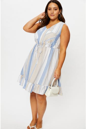 Plus Sleeveless Stripe A-Line Dress