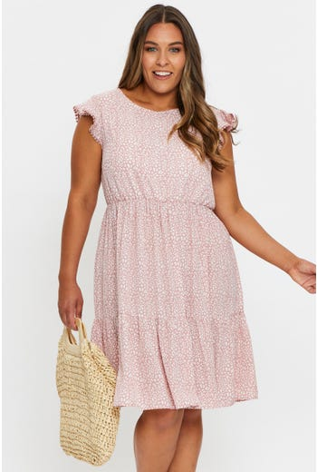 Plus Frill Sleeve Tiered Shift Dress