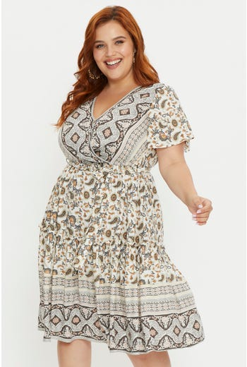 Plus Short Sleeve Boho Print Skater Dress