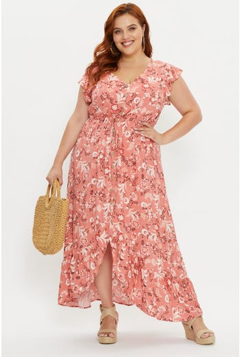 Plus Short Sleeve Boho Midi Dress