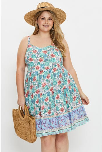 Plus Sleeveless Boho Swing Dress
