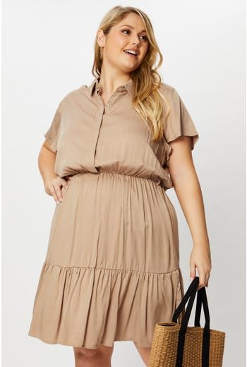 Plus Short Sleeve Ruffle Hem Belted Shirt Dress