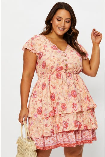 Plus Boho Tiered Skater Dress