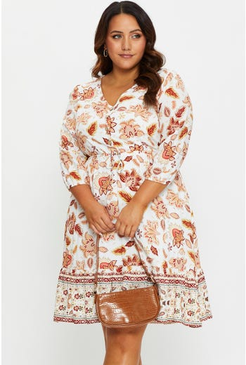 Plus Short Sleeve Boho Button Front Skater Dress