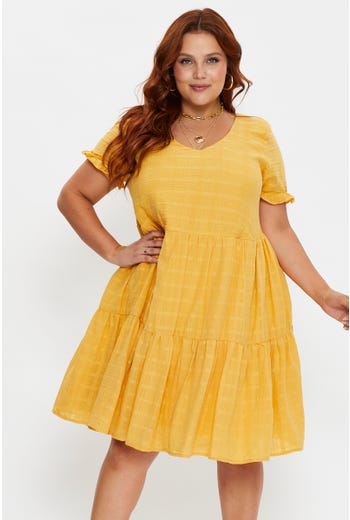 Plus Tiered Swing Dress