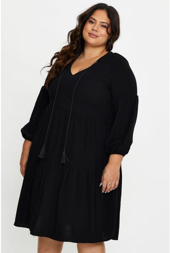 Plus Long Sleeve Linen Swing Dress