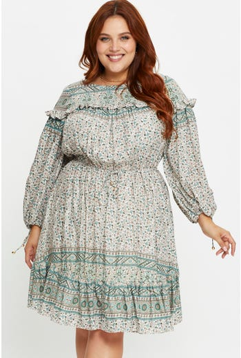 Plus Long Sleeve Boho Skater Dress