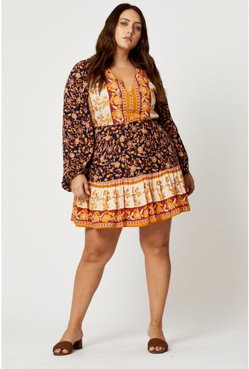 Plus Long Sleeve Boho Button Front Skater Dress