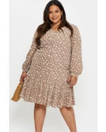 Plus Long Sleeve Floral Button Front Smock Dress