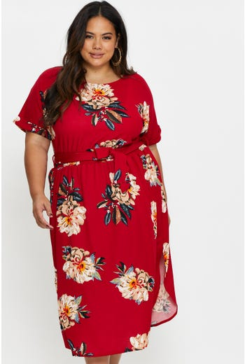 Plus Short Sleeve Floral Midi Dress