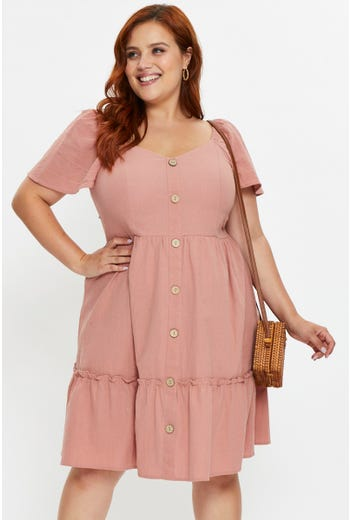 Plus Short Sleeve Button Front Skater Dress