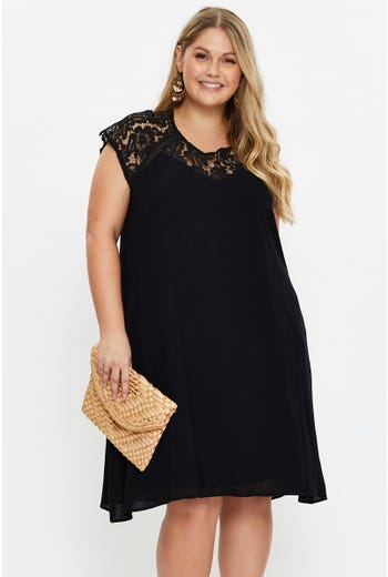 Plus Lace Panel Shift Dress
