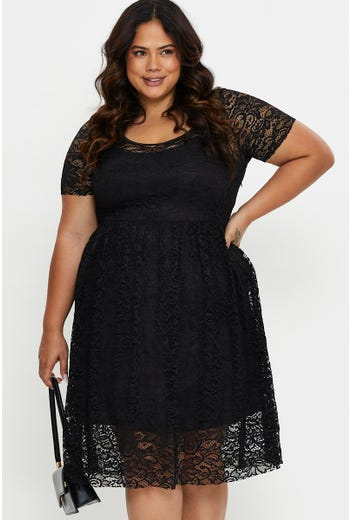 Plus Lace Short Sleeve Skater Dress