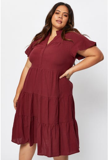 Plus Bell Sleeve Tiered Dress