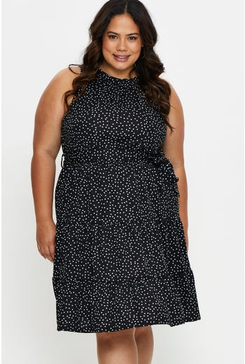 Plus Polka Dot Jersey High Neck Mini Dress