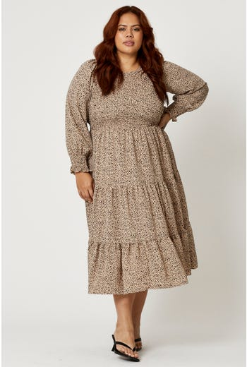 Plus Tiered Skirt Long Sleeve Skater Dress