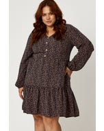 Plus Button Front Tiered Long Sleeve Skater Dress