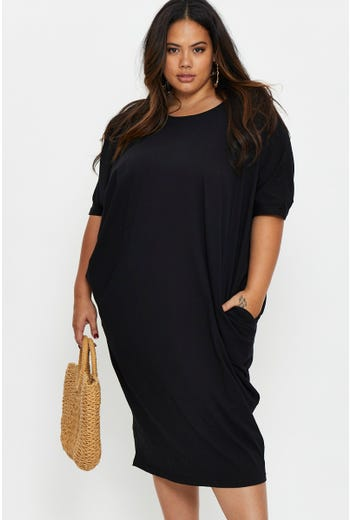 Plus Oversize Side Pocket Jersey Dress