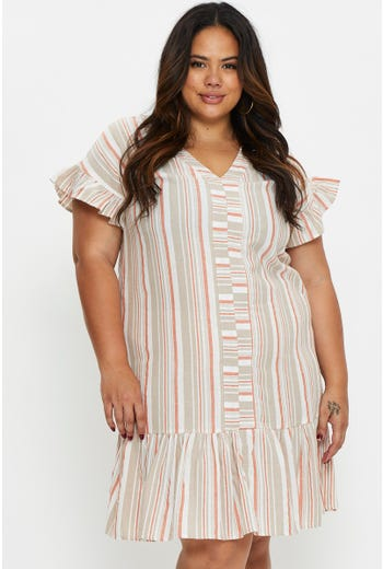 Plus Stripe Ruffle Sleeve Shift Dress
