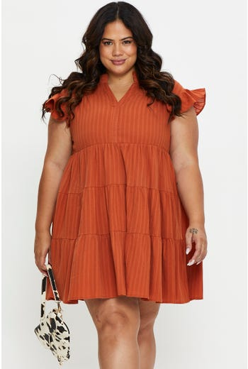 Plus Ruffle Sleeve Tiered Dress