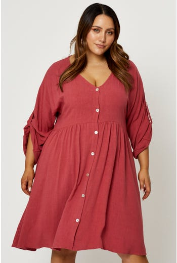Plus 3/4 Sleeve Button Front Smock Dress