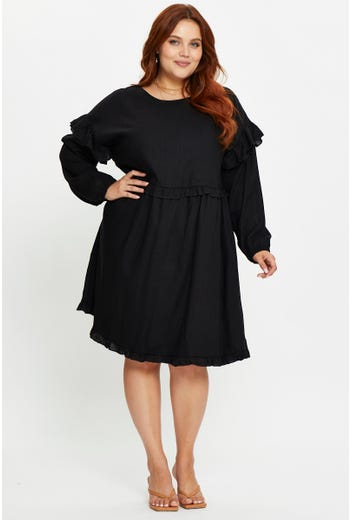 Plus Long Sleeve Linen Frill Smock Dress