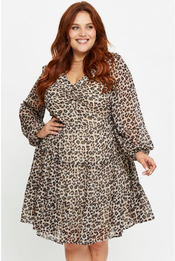 Plus Leopard Print Shirred Front Skater Dress